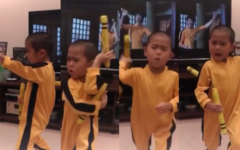 3 year-old Mini Bruce Lee recreates moves perfectly