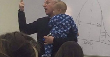 College professor babysits child during lesson